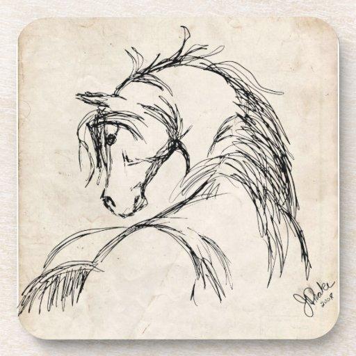 Artsy Horse Head Sketch Drink Coasters