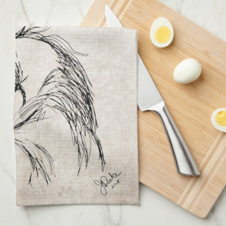 Artsy Horse Head Sketch Hand Towels