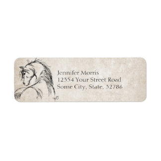 Artsy Horse Head Sketch Labels