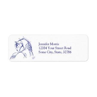 Artsy Horse Head Sketch Label