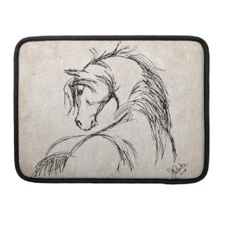 Artsy Horse Head Sketch Sleeve For MacBook Pro