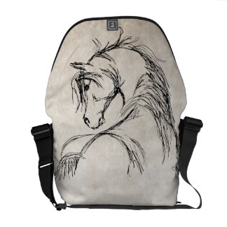 Artsy Horse Head Sketch Messenger Bag