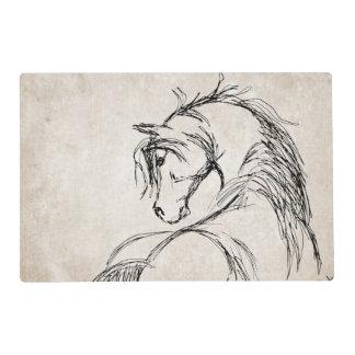 Artsy Horse Head Sketch Laminated Place Mat