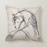 Artsy Horse Head Sketch Pillows