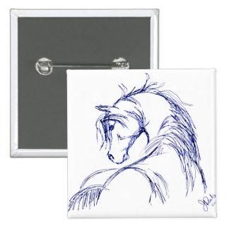 Artsy Horse Head Sketch Pinback Button