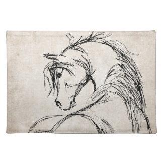 Artsy Horse Head Sketch Place Mat