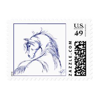 Artsy Horse Head Sketch Postage