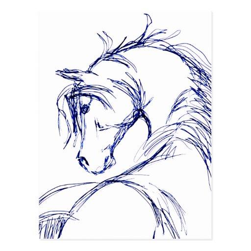 Artsy Horse Head Sketch Post Card