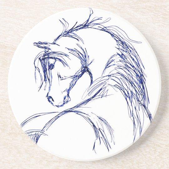 Artsy Horse Head Sketch Sandstone Coaster