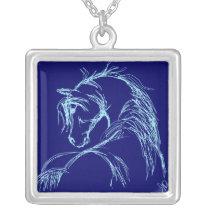 Artsy Horse Head Sketch Silver Plated Necklace