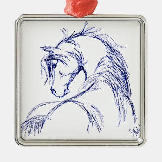Artsy Horse Head Sketch Square Metal Christmas Ornament