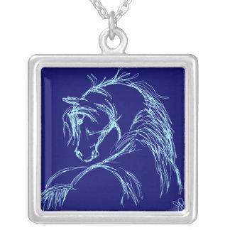 Artsy Horse Head Sketch Square Pendant Necklace
