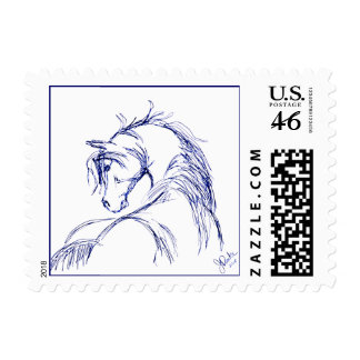 Artsy Horse Head Sketch Stamps