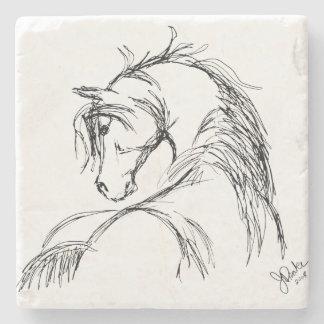 Artsy Horse Head Sketch Stone Coaster