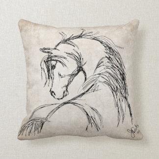 Artsy Horse Head Sketch Throw Pillow