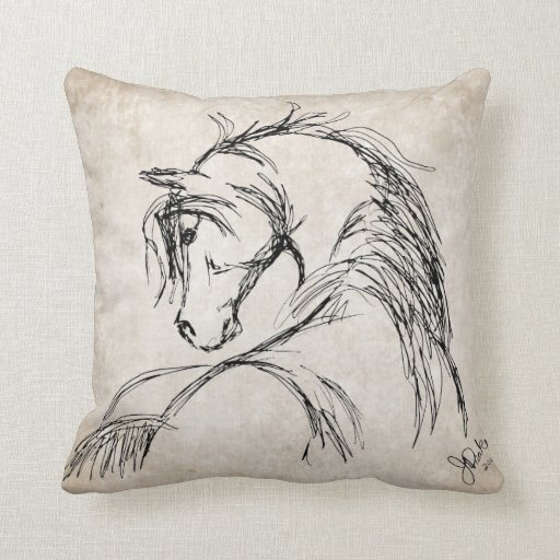 Artsy Horse Head Sketch Throw Pillow Zazzle
