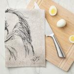 Artsy Horse Head Sketch Towel