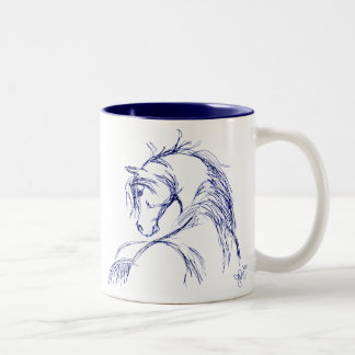 Artsy Horse Head Sketch Two-Tone Coffee Mug