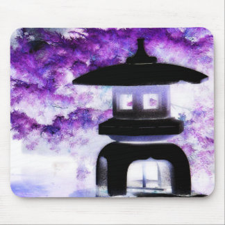 Artsy Japanese Pagoda Style Garden Lantern Mouse Pad