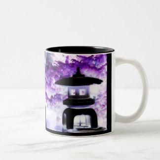 Artsy Japanese Pagoda Style Garden Lantern Two-Tone Coffee Mug