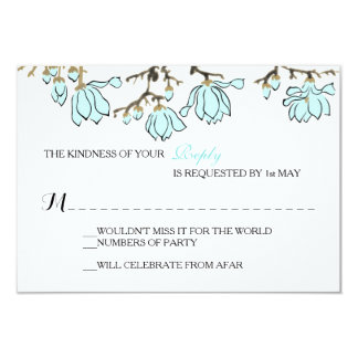 Artsy Magnolia Simplicity Wedding or Party RSVP Card