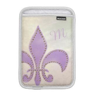 Artsy Mardi Gras Purple Fleur de Lis iPad Mini Sleeves