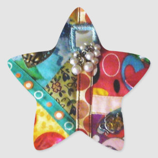 Artsy Mixed Media Patchwork Quilted Design Star Sticker