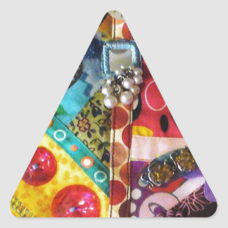 Artsy Mixed Media Patchwork Quilted Design Triangle Sticker