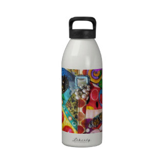Artsy Mixed Media Patchwork Quilted Design Reusable Water Bottles