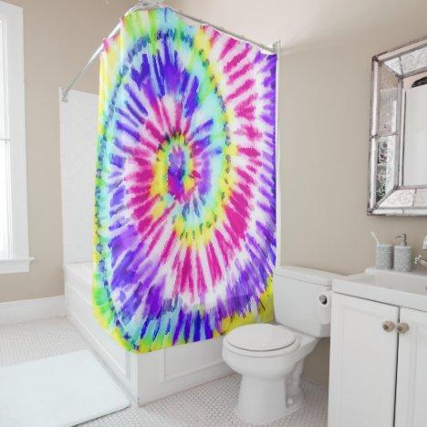 Artsy Neon Rainbow Tie Dye Watercolor Pattern Shower Curtain