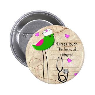 Artsy Nurse Bird Pinback Button