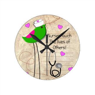 Artsy Nurse Bird Round Clock