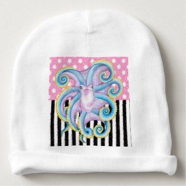 Beach Themed Artsy Octopus Pink Baby Beanie