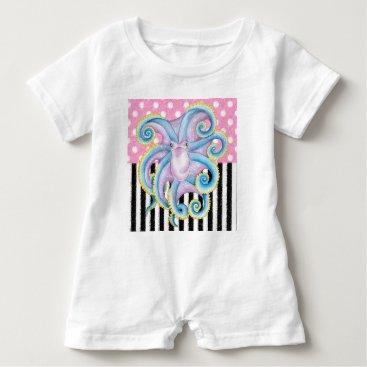 Beach Themed Artsy Octopus Pink Baby Romper