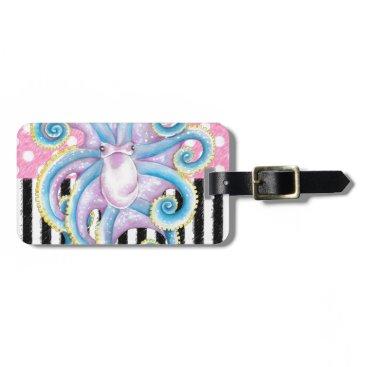 Beach Themed Artsy Octopus Pink Bag Tag