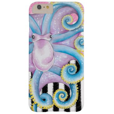 Beach Themed Artsy Octopus Pink Barely There iPhone 6 Plus Case