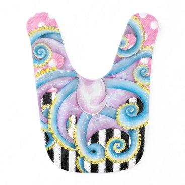 Beach Themed Artsy Octopus Pink Bib