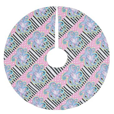Beach Themed Artsy Octopus Pink Brushed Polyester Tree Skirt