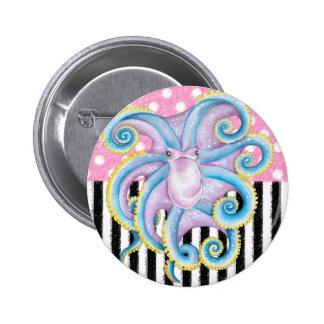 Artsy Octopus Pink Button