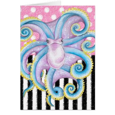 Beach Themed Artsy Octopus Pink Card