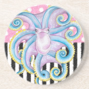 Beach Themed Artsy Octopus Pink Drink Coaster