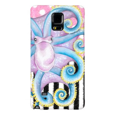 Beach Themed Artsy Octopus Pink Galaxy Note 4 Case