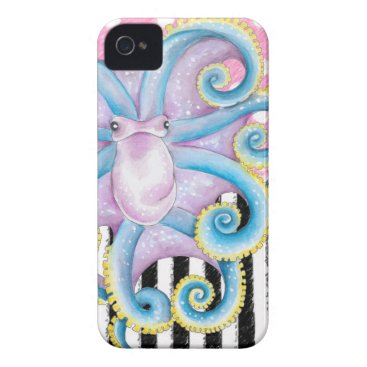 Beach Themed Artsy Octopus Pink iPhone 4 Case