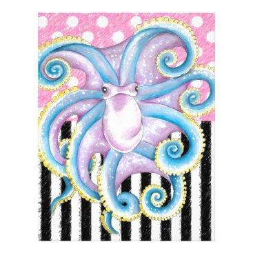 Beach Themed Artsy Octopus Pink Letterhead