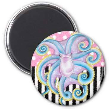 Beach Themed Artsy Octopus Pink Magnet