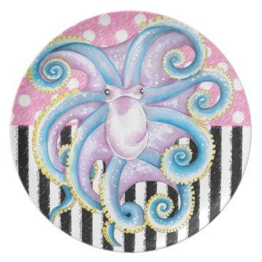 Beach Themed Artsy Octopus Pink Melamine Plate