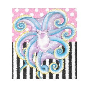 Beach Themed Artsy Octopus Pink Notepad