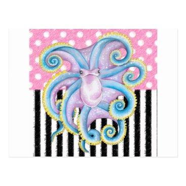 Beach Themed Artsy Octopus Pink Postcard