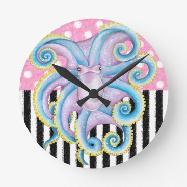 Beach Themed Artsy Octopus Pink Round Clock