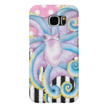 Beach Themed Artsy Octopus Pink Samsung Galaxy S6 Case